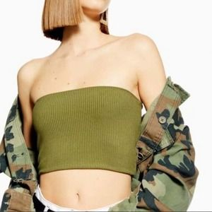 TOPSHOP Green Top Ribbed Crop Strapless Top 3/$20